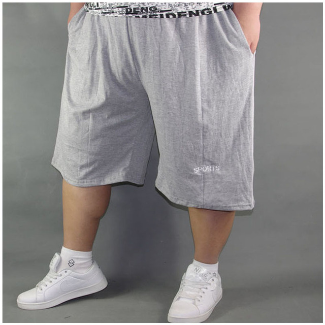 Big Men Size Shorts Men Solid Baggy Loose Elastic Shorts Cotton Casual Plus Size Shorts Extra Large Big Plus Size Black Gray