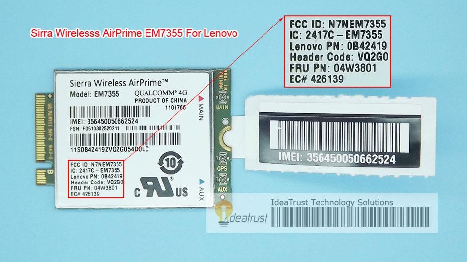 Sierra EM7355 Gobi5000 FRU 04W3801 LTE EVDO NGFF 4G WWAN Network Card for l440 l540 T431s T440 T440s T440p T540P W540 X240 new unlock sierra wireless gobi5000 em7355 lte evdo hspa 42mbps ngff card 4g module for hp lt4111 wwan 704030 001 wcdma card