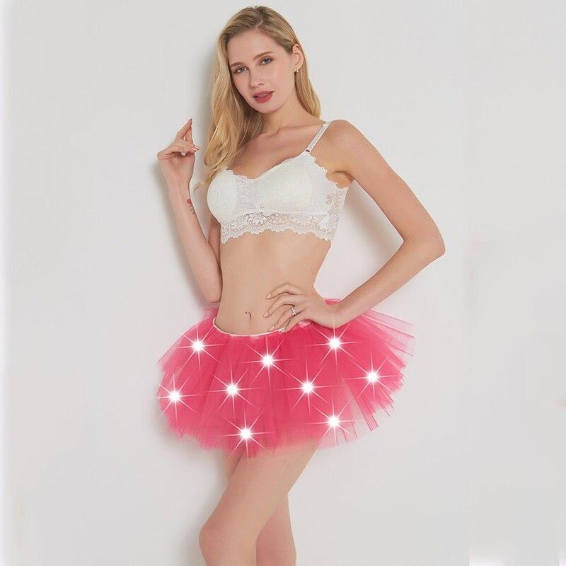 2017 Nově Voile Fashion Sexy Ženy Led Svítí Neon Efektní Rainbow Mini Tutu Halloween Kostým Dospělý Sukně Plesové šaty