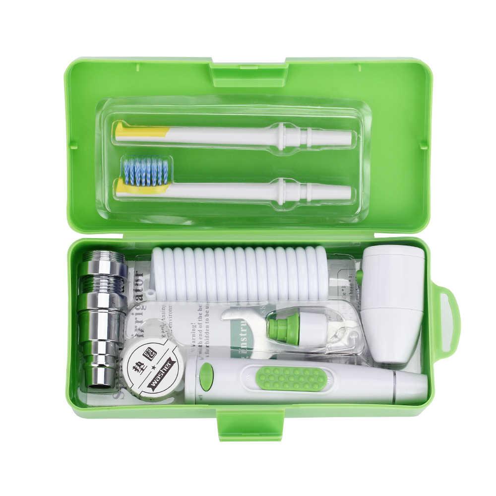 Przenośny kran Oral Jet irygator woda nić dentystyczna głowica szczoteczki do zębów wymienna nić dentystyczna z pudełkiem 2 zraszacze