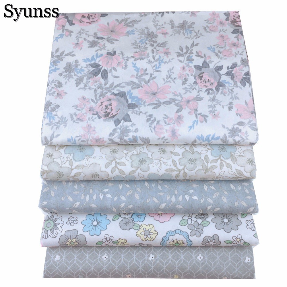 Grey floral printed twill cotton fabric fat quarte diy for Grey baby fabric
