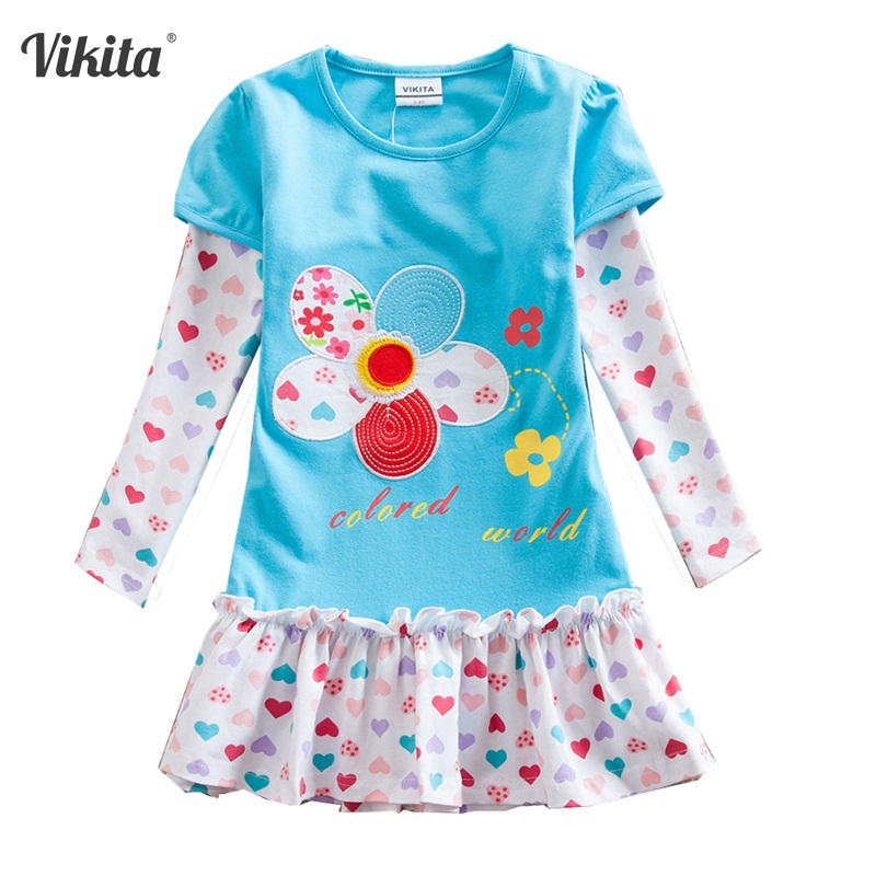 VIKITA Girl Dresses Children Clothing Kids Princess Dress Girls Floral Vestidos Long Sleeve Casual Dresses for Autumn F5061