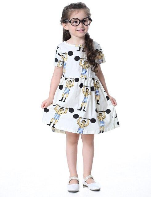13e77f592 Blanco verano vestido Niñas 3 4 5 6 7 8 años los niños ropa 2017 algodón