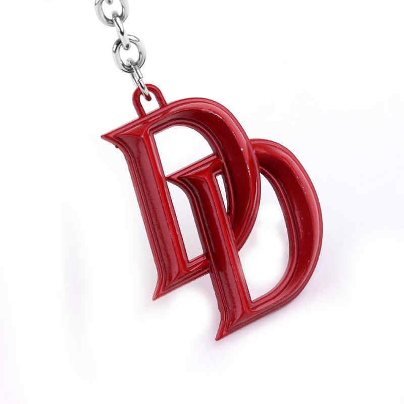 Cổ điển kẽm hợp kim màu đỏ đồng cổ thư đôi D keychain Cho Phụ Nữ Người Đàn Ông Vòng Chìa Khóa