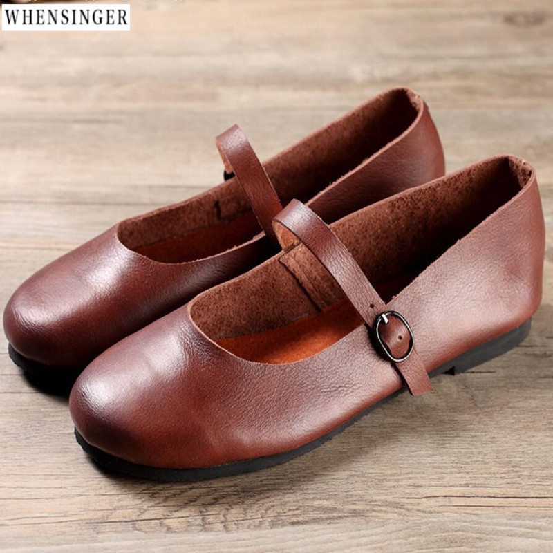 Whensinger - Women Flat Shoes loafers Genuine Leather Casual Buckle Vintage Mary Jane Flats Shoe imc vintage women flat shoes white us4 eur35 length 22 5cm