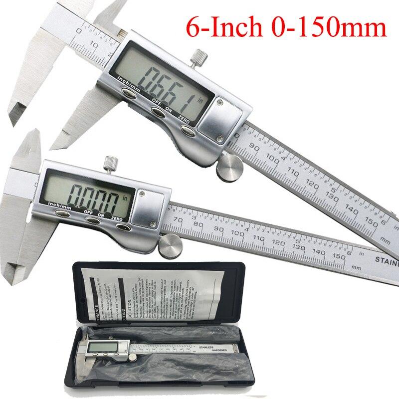 0-150mm/6 boîtier Métallique Numérique ÉTRIER VERNIER étrier en métal numérique pied à coulisse Micromètre De Mesure Inoxydable acier étrier