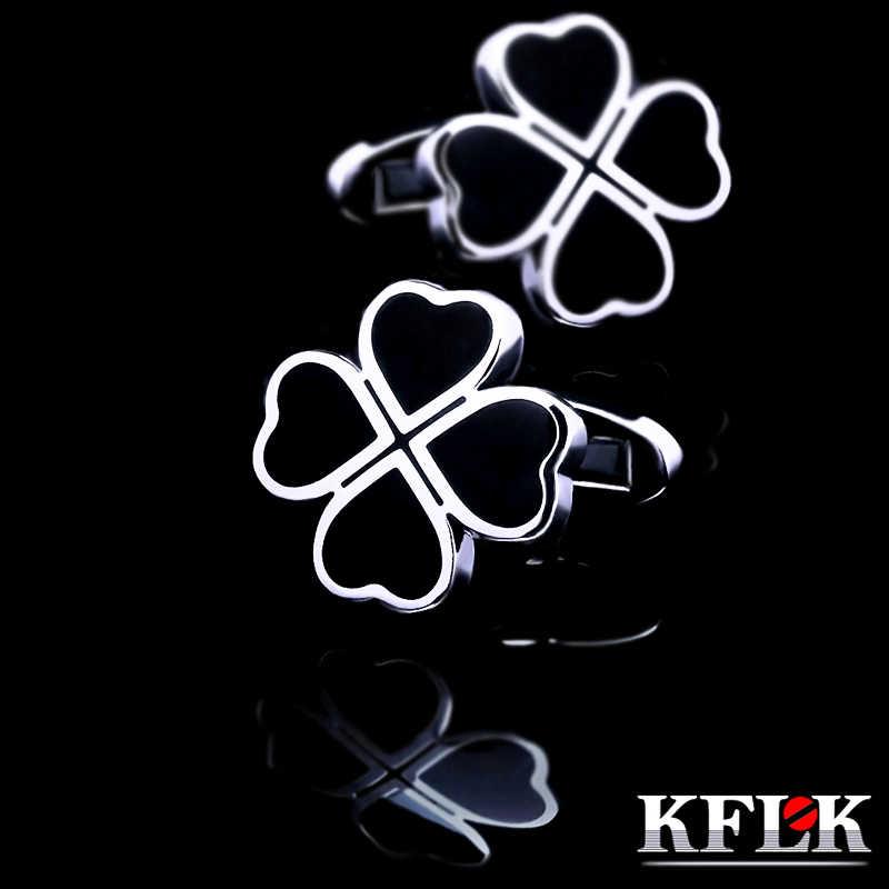 KFLK 2019 Clover abotoaduras da camisa para homens Marca botões de punho abotoaduras Preto gemelos abotoaduras Designer De Jóias de Alta Qualidade
