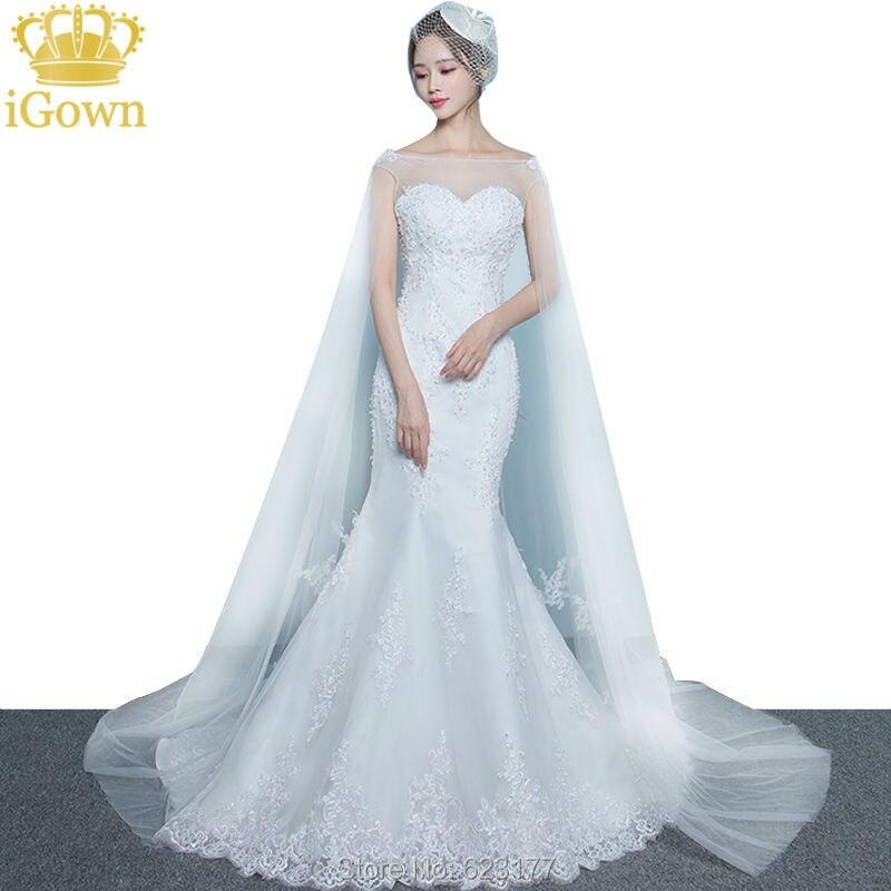 Igown Brand Mermaid Wedding Dress Sexy Slim White Lace Embroidery