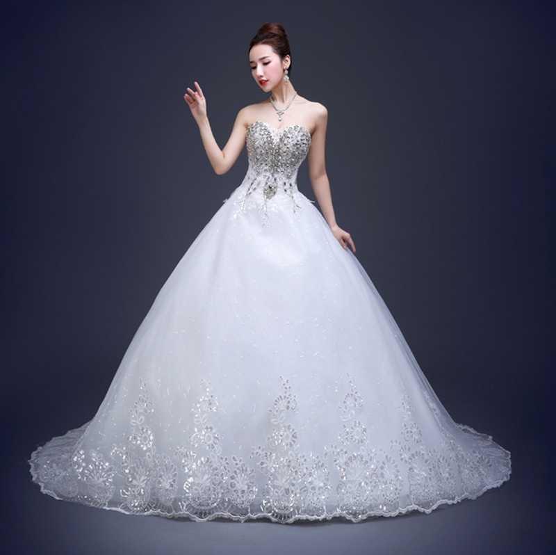 618590510 Vestidos De Novia 2019 с открытыми плечами кристалл кружево платье для  Свадебная вечеринка Casamento принцессы Свадебные