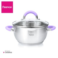 FISSMAN Soup & Stock Pots Casserole STAINLESS STEEL ANNETTE series with glass lid