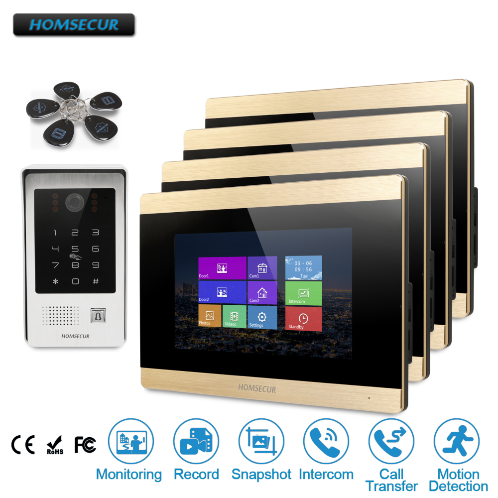 HOMSECUR 7 Hands-free Video Door Phone Intercom System+Password & ID Access+Motion Detection  BC091 + BM715-GHOMSECUR 7 Hands-free Video Door Phone Intercom System+Password & ID Access+Motion Detection  BC091 + BM715-G