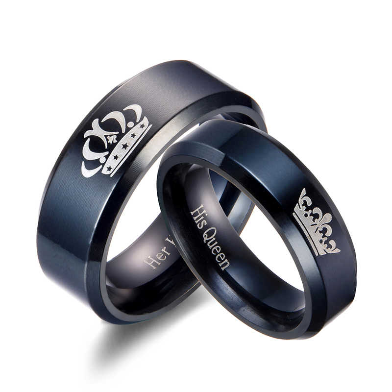 Couple Rings Stainless Steel Her King And His Queen Rings For Lovers Black Elegant Wedding Anniversary Women Jewelry Ringen