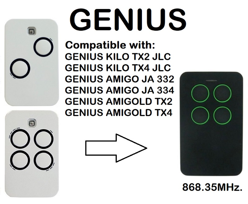 GENIUS KILO TX2 JLC, GENIUS KILO TX4 JLC Compatible Remote control 868.35MHzGENIUS KILO TX2 JLC, GENIUS KILO TX4 JLC Compatible Remote control 868.35MHz