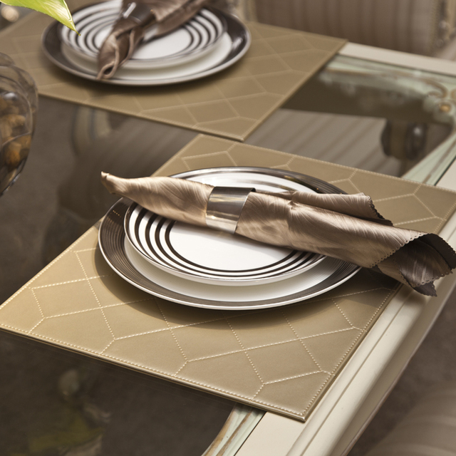 4PCS/LOT 30*40cm Quilting Faux Leather Placemats Gold Silver PU Table  Matsu0026Pads Tableware