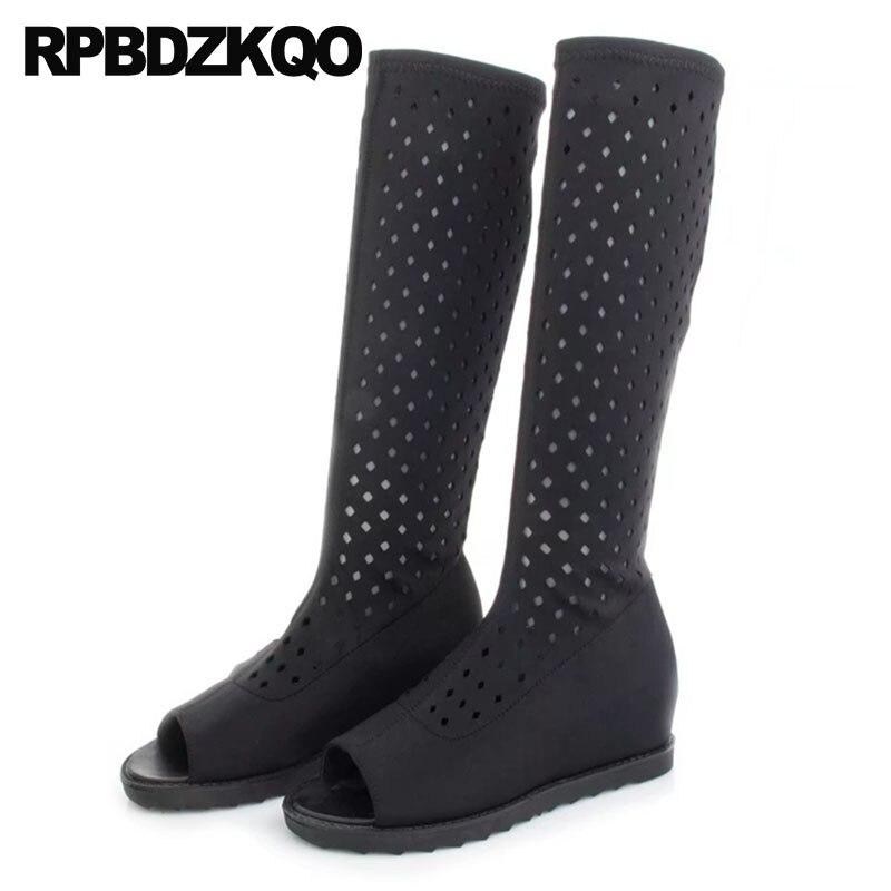 e3f4ff7ceb0f9 stretch designer shoes women luxury 2018 summer cut out slim peep toe boots  lycra black long