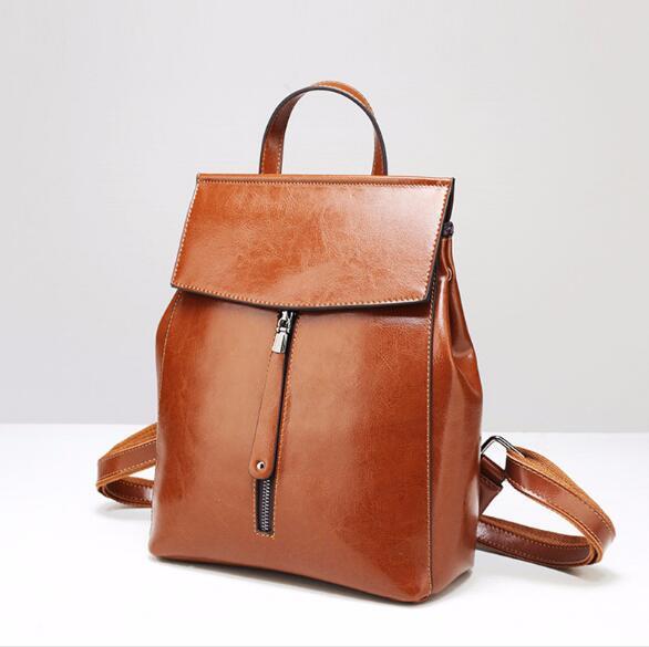 2018 vintage split cuir sac d'école grande capacité solide sac à dos pour les femmes