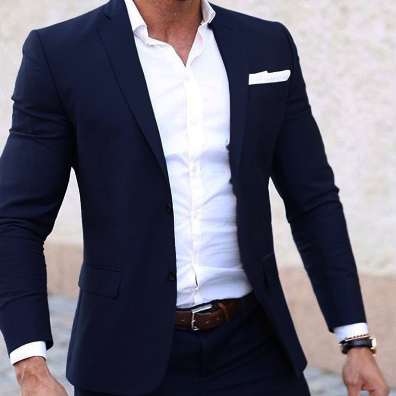 a2ace9a54969 Для мужчин летние комплекты индивидуальный заказ лёгкие дышащие синий  мужской костюм, Темно синие Прохладный индивидуальные летний свадебный  наряд для Для ...