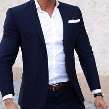 Męskie letnie kostiumy wykonane na zamówienie lekki oddychający niebieski człowiek garnitur, granatowy fajne szyte na miarę letni strój ślubny dla mężczyzn