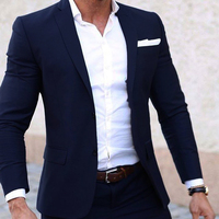 Men Summer Suits Custom Made Light Weight Breathable Blue Man Suit, Navy Blue Cool Tailor Made Summer Wedding Attire For Men