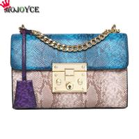 Patchwork Women Shoulder Bags PU Leather Chain Small Crossbody Bag Snake Skin Satchel Handbags Girls Fashion