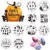 Halloween 1 Sets Nail Stamping Kits 10pcs Stamp Stamper Scraper Nail Art Round Stainless Stamping Template