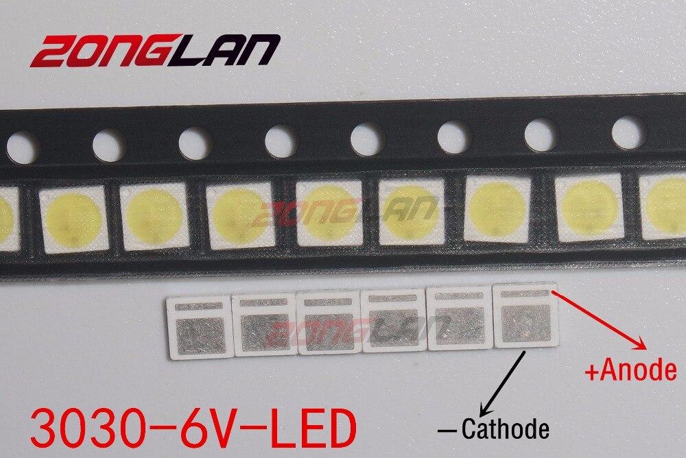 Image 2 - LED 1000 sztuk/partia podświetlenie dioda LED dużej mocy 1.8W 3030 6V zimny biały 150 187LM PT30W45 V1 do tvŚwiecące koraliki   -