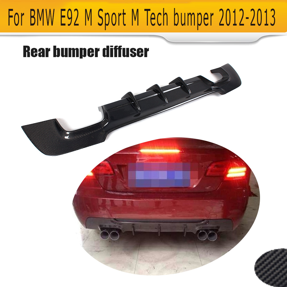 3 Series Carbon Fiber Rear bumper lip spoiler diffuser for BMW E92 E93 M sport Coupe Convertible 05-11 335i Grey FRP Four outlet