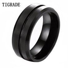 TIGRADE 8mm Mens Black Tungsten Carbide Ring Engagement Thin Blue Line Wedding Band Women Men Jewelry anello uomo Hot Sale