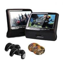 2 UNIDS 9 Pulgadas HD 800*480 Del Coche Del LED Altavoz Incorporado Reproductor de DVD Reposacabezas Monitor Con USB/HDMI/CD/IR/FM/Juego