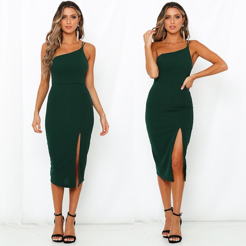 Women Sleeveless Split Bodycon Dress Spaghetti Strap Evening Party Beach Dresses
