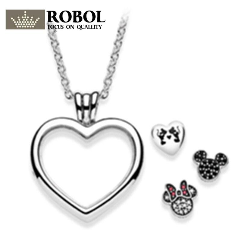 ROBOL 100%925 Sterling Silver Love Magic Box Charm Necklace With Pendant Charm Bead Authentic Fine Jewelry Gift Free PackageMail колье ошейник magic jewelry box 2015 mjn9411