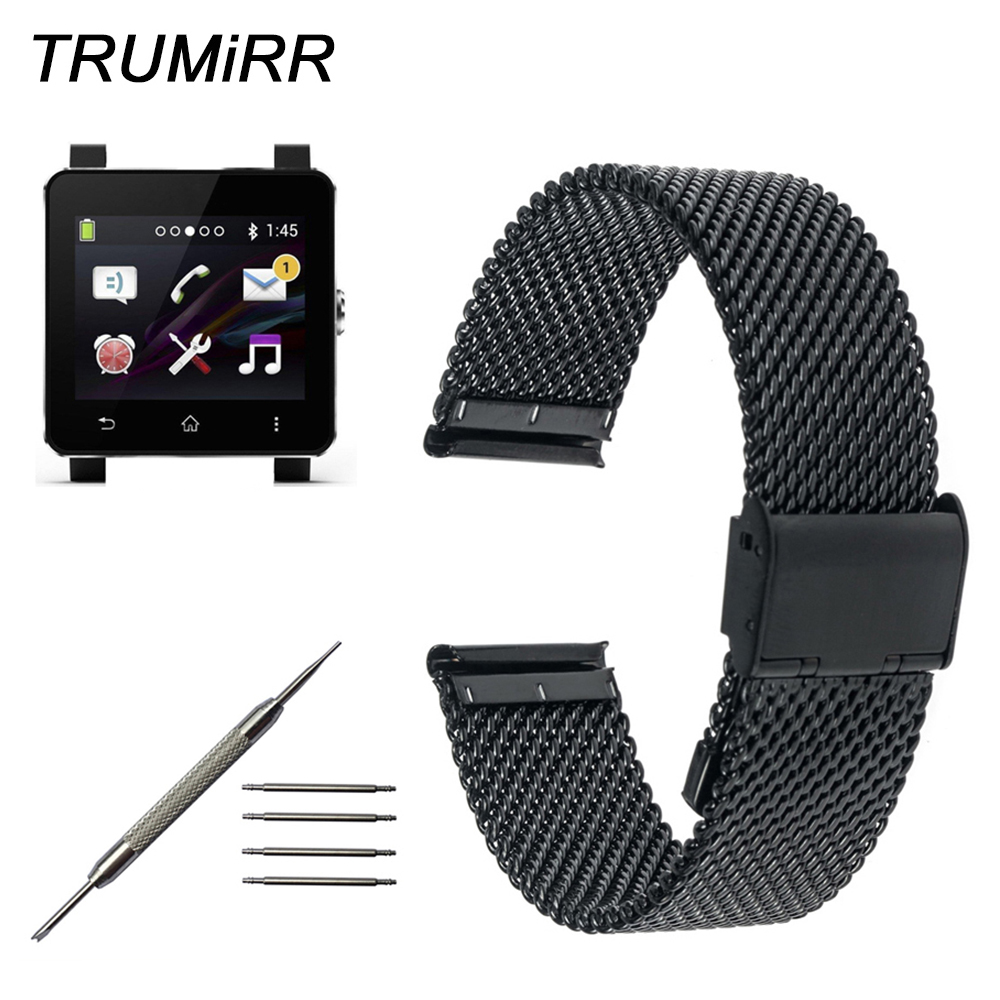 24mm Milanese Watchband Mesh Stainless Steel for Sony Smartwatch 2 SW2 Smart Watch Band Bracelet Link Strap with Tool and Pins 24mm silicone rubber watch band for sony smartwatch 2 sw2 replacement watchband strap bracelet with stainless steel clasp buckle