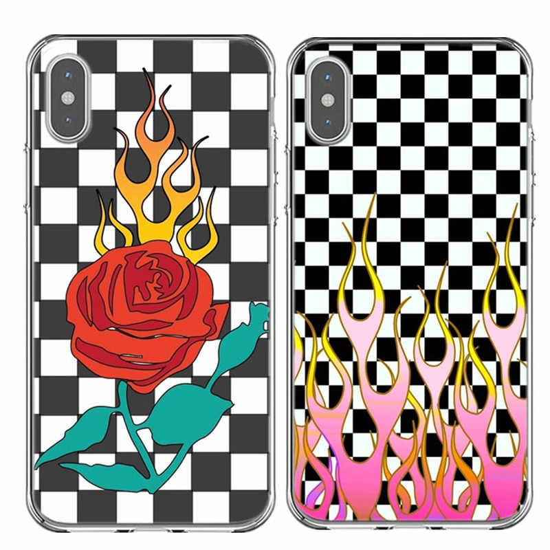 CHECKERED PURPLE&PINK FLAME Rose Back Cover Soft silicone Phone case for iphone SE 5 5s 6 6S plus 7 7 Plus 8 8plus X XR XS MAX