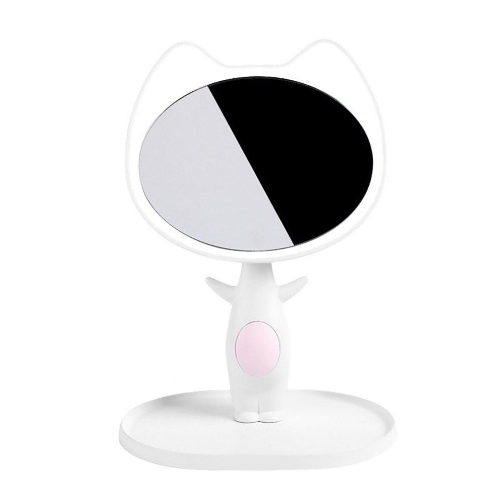 cat LED cartoon cute light mirror smart make up mirror mirror with lamp mirror lamp comb table lamp valentine's day gift white