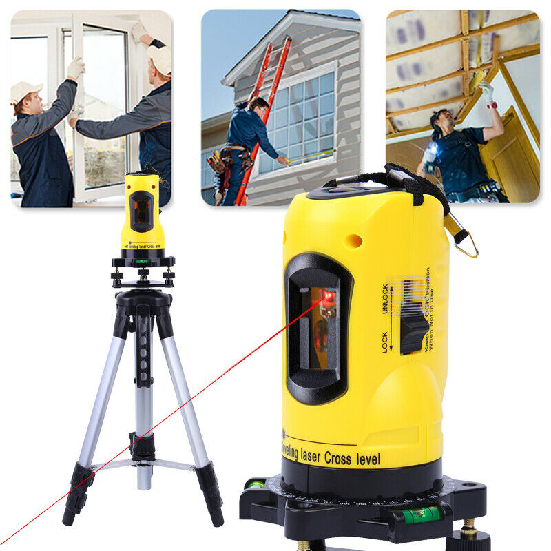 Automatic Self Levelling Cross Line Laser Level + Tripod Set Measuring Laser