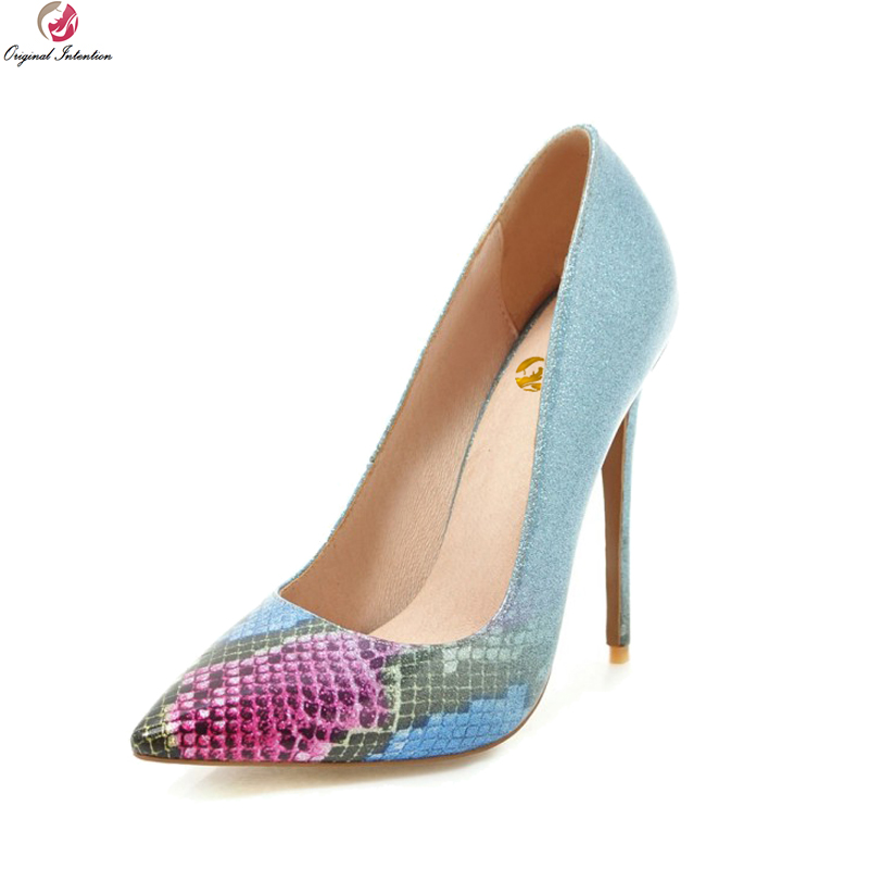 97d1188cfd0 Original Intention Sexy Women Pumps Pointed Toe Thin High Heel Pumps Nice  Black Blue Green Purple Shoes Woman Plus US Size 3-16