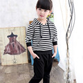 Striped Hooded Sport Set For Girl Kids 2016 New Arrival Classic Teen Clothing Set Girls Long Sleeve Fashion Baby Girl Sport Set