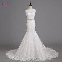 Waulizane Elegant Appliques Lace Beaded Tulle Mermaid Bridal Gowns O Neck Brush Train Cap Sleeves Wedding
