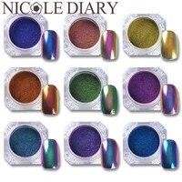 1g Top Grade Chameleon Nail Powder Manicure Nail Art Chrome Pigment Glitters Black Base Color Needed