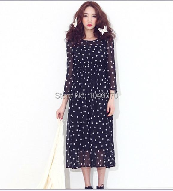 Free Shipping Korean Style New In 2014 Fashion Women Summer Spring Black Dresses White Polka Dot