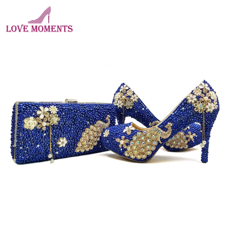 4 Inches High Heel Women Shoes Royal Blue Imitation Pearl Wedding Party Shoes with Matching Purse Perfect Handbag Bridal Shoes
