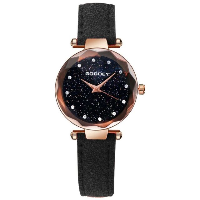 Hot Sales Gogoey Brand Rose Gold Starry Leather Watches Women Ladies Crystal Dre