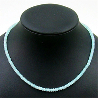 Vintage Classic Natural Stone Jewelry Delicate Ice Blue Aquamarine Gems Beaded Chain Choker Necklace 45cm