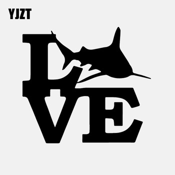 YJZT 16CM*14.5CM Shark Love Decal Great White Vinyl Car Sticker Fishing Sportman Decal Black/Silver C24-0779 image
