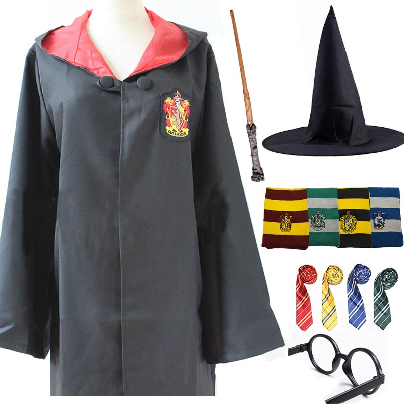Ravenclaw Gryffindor Hufflepuff Slytherin Costume Robe Cloak with Tie Scarf Magic Wand for Adult Kids for Harri Potter Cosplay