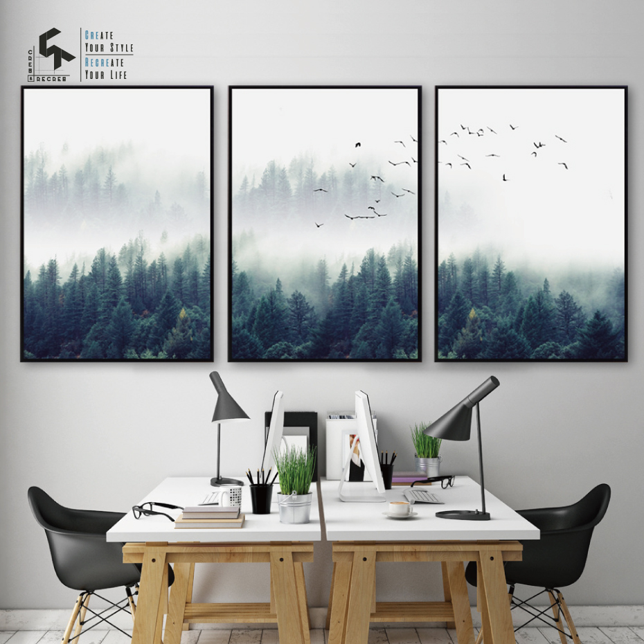 Create&recreate Nordic Poster Forest Posters And Prints Birds Wall Artwork Canvas Portray Ornamental Photos For House Cr1810105006