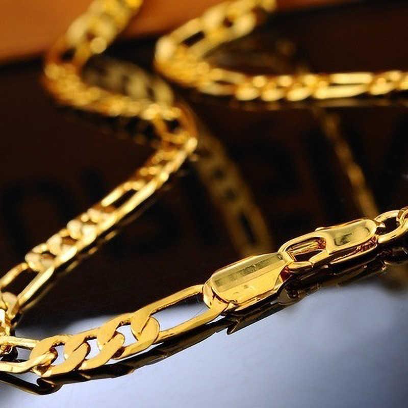אופנה כסף/זהב פיגארו שרשרת kolye 45/50/55/60/65/70/75 CM לרסן שרשראות גברים נשים ארוך שרשרת שרשראות צווארון hombre