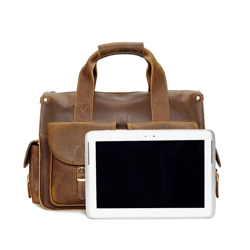 Men s Genuine Leather Real Cowhide Handbag Messenger Shoulder Tote Briefcase  for Laptop Bag Purse-in Top-Handle Bags from Luggage   Bags on  Aliexpress.com ... a7247740fe91d