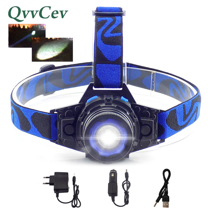 Q5 LED Focus Led Headlamp Torch Headlight Flashlight Rechargeable Linternas Lampe Head lamp Build-In Battery + Charger
