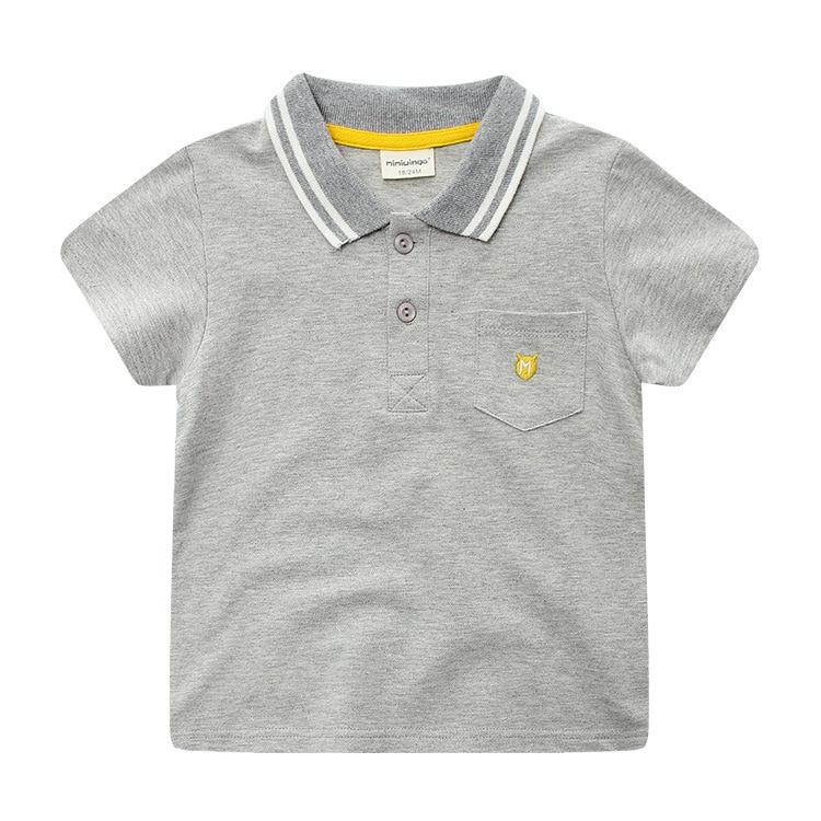 2018 verano nuevo desgaste de los niños, muchacho coreano Camiseta de algodón solapa, manga corta Camisa de los niños